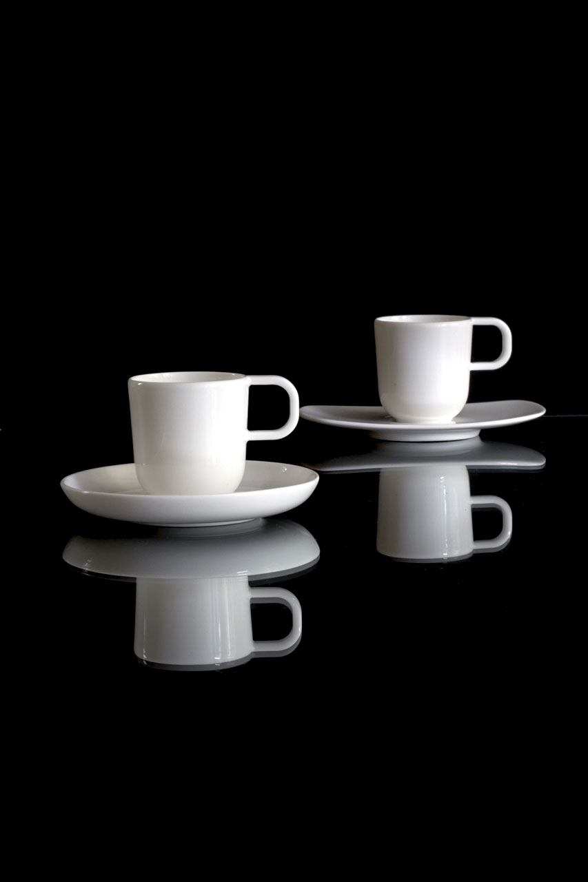 Bent Brandt - TABL white bone china S2 cups on S1 and S2 saucers