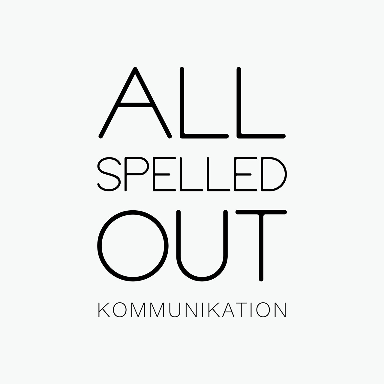 All Spelled Out logo black on grey background