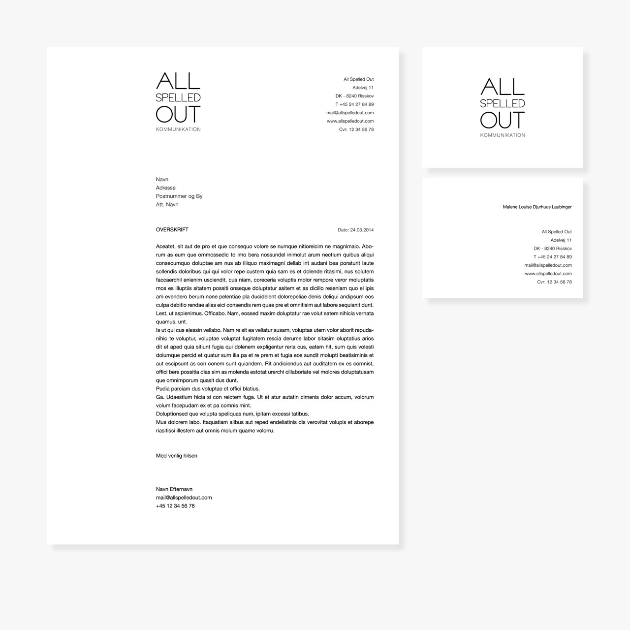 All Spelled Out stationary with letterhead and business card
