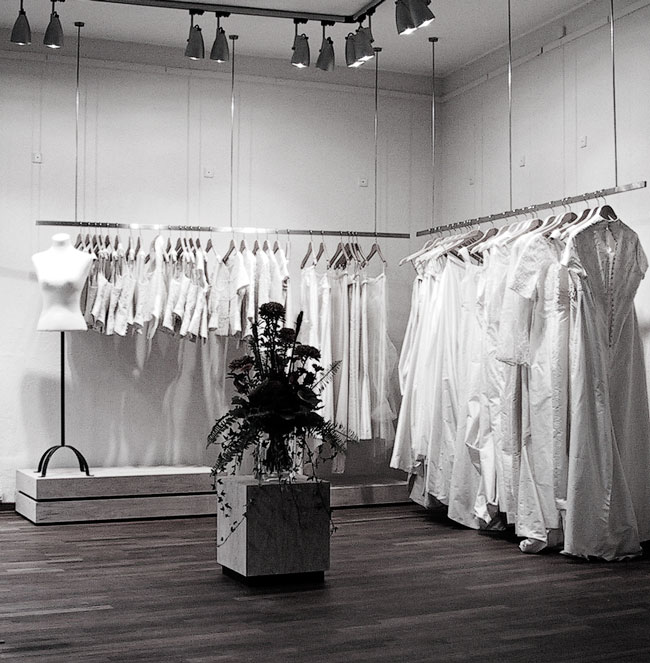 Bespoke interior of Marianne Carøe Couture shop in Aarhus