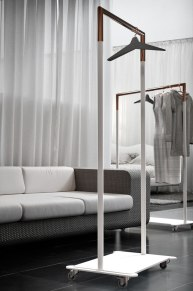 BUKTO wardrobe system Material: Stainless steel, powdercoated, polished, brushed or copper finish Client: Frost.dk