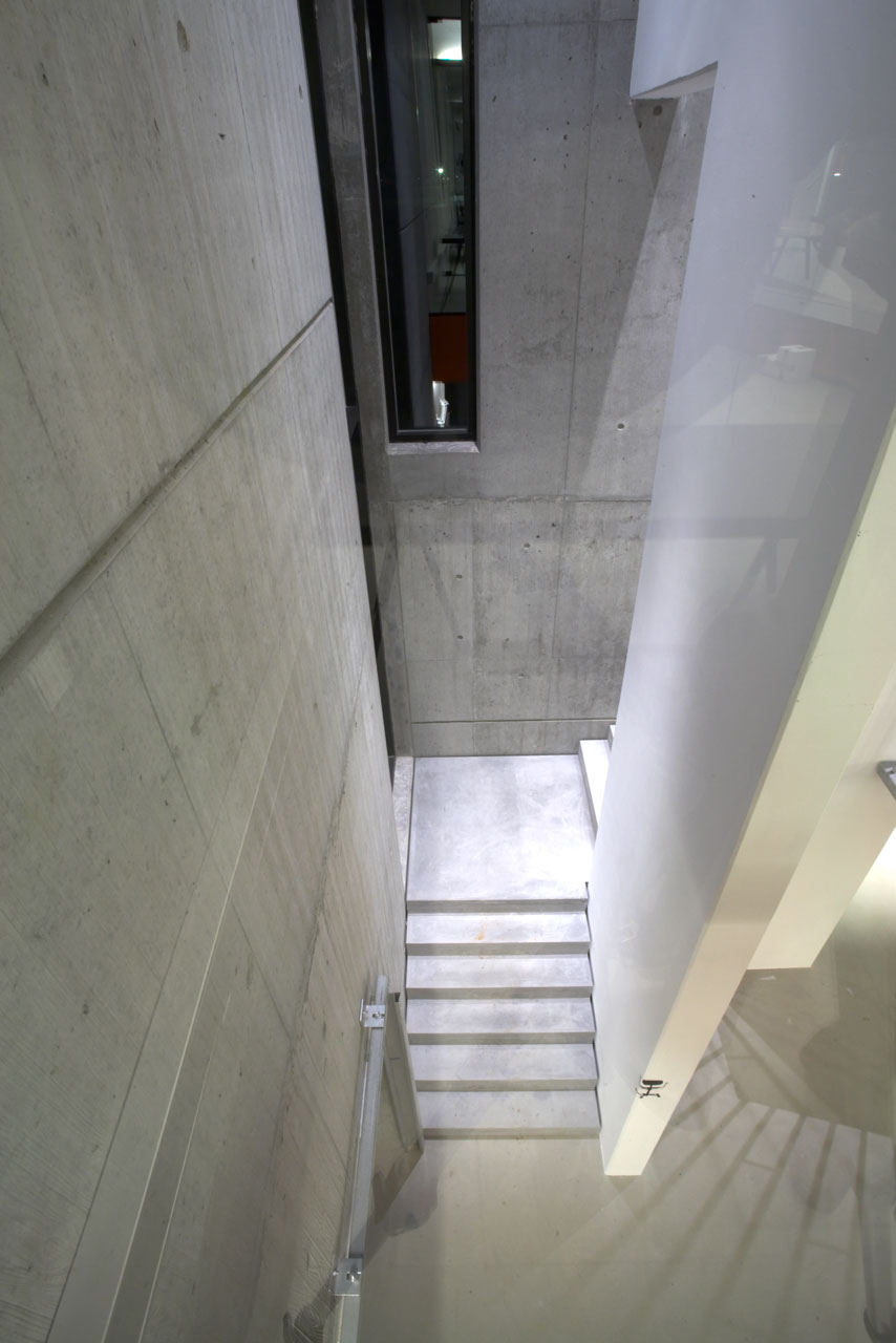 Bellinger House concrete staircase - view from first floor to ground floor.